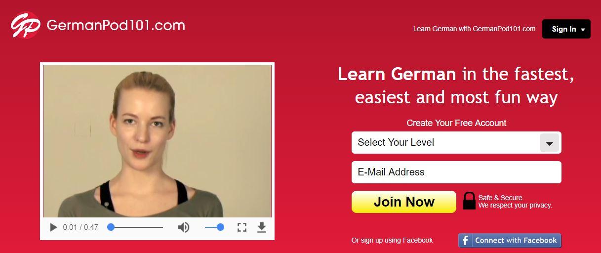 germanpod101 homepage