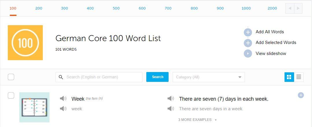 germanpod101 vocabulary section
