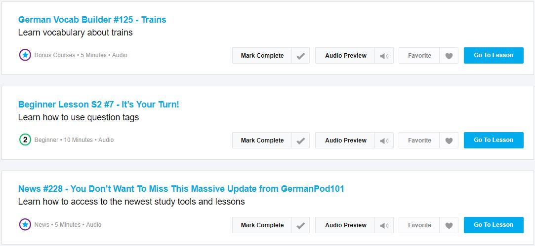 germanpod101 audio lessons